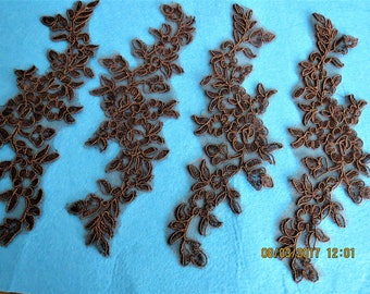 Dark Chocolate embroidered appliques, brown appliques