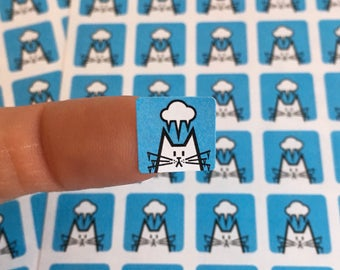"""Cold Weather cat stickers, freezing, weather organiser sticker sheet, square icon stickers 12mm / 0.5"""", 80 stickers, weather icons"""