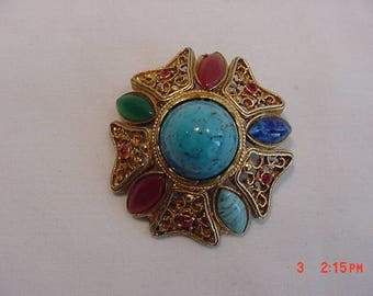Vintage Glass Cabochon & Rhinestone Accented Brooch - Pendant  18 - 522