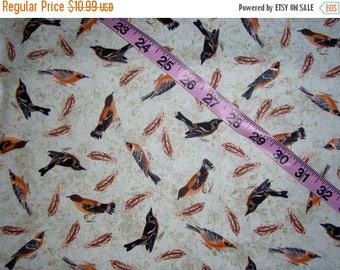 Bird fabric feathers cotton quilt print quilters sewing material to sew by the yard craft project BTY, aviary fabric with birds