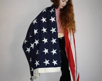 On SALE 35% Off - Vintage 1940s 48 Star Stitched  Stars and Stripes Red White and Blue US Navy 56 by 116 American Flag - 40s 48 Star America