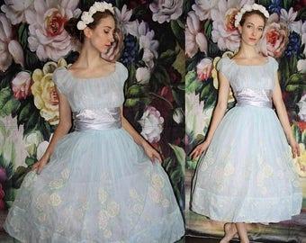 On SALE 35% Off - Vintage 1950s Pastel Blue Embroidered Floral Pinup Bombshell Cupcake Prom Wedding Dress - 50s Dresses - WV0426