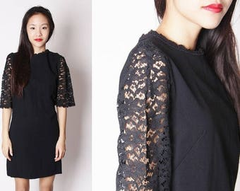 FLASH SALE - Vintage Black 60s Sheer Lace Sleeve Short Dress / Black 60s Lace Dress / 1960s Short Black Dresses / LBD / 2132