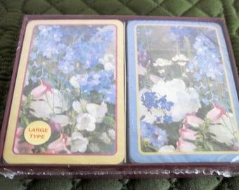 Vintage Caspari Double Deck Of Playing Cards Still Sealed Large Type Displaying Larkspur Peonies No.PC32J