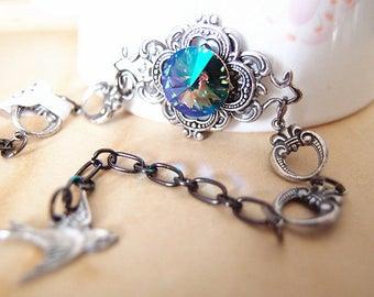Hilaeira NO.3--Swarovski galaxy blue crystal antique silver brass adjustable bracelet