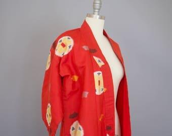 Vintage Kimono / Antique Kimono / Kasuri Kimono Peasant Kimono Farmer Kimono / Ikat Kimono / Red Silk Black Yellow 1920s Kimono 1900s 1910s