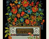 Floral Radio screen print