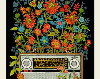 Floral Radio screen print