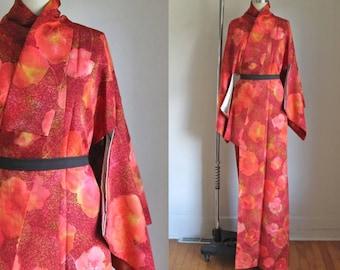 RESERVED //// vintage 1960s silk kimono - TSUBAKI orange floral kimono