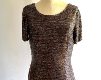 Vintage 1970s Blacktie OLEG CASSINI Antique Gold Iridescent Sequined Beaded Evening Top Handicraft Cropped Size M