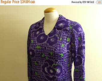 50% OFF One Piece Jumper and Skirt - Funky Green and Purple Polyester 60s Retro Clothing Medium