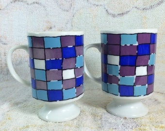 20% SALE Funky Retro Mugs Blue and Purple Checkered Print Japan Pair
