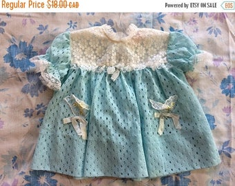 SALE SALE SALE New Born Baby Girls Light Blue and White Lace Dress for Babies Mothers Pet by Claire Bell 60s Adorable
