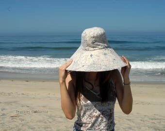 Travel Sun Hat Foldable Vacation Wide Brim Sun Hat World Traveler Gift for Her Summer Sunhat Neutral Sunhat by Freckles California
