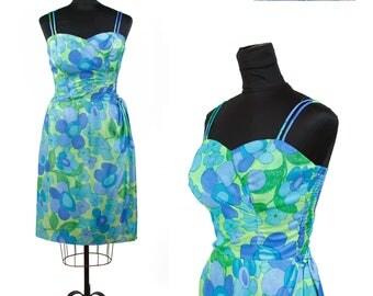 60s SUN FASHIONS HAWAII—Aquatic Colors Rayon Sun Dress—Size 8