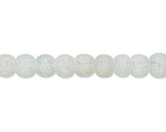 77pcs 6mm Matte Clear AB Coated Glass Beads Round 16in