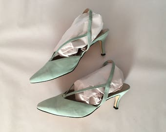 sea glass green suede heels | V strap pointy toe heels | strappy elastic sling back pumps | 9.5