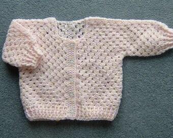 Pink/Cream girl's crochet cardigan (ref 005)