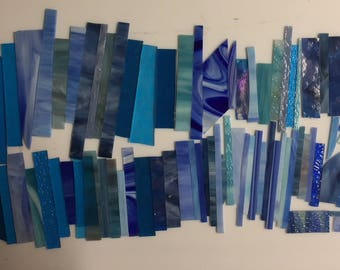 3 pounds various blue scrap glass for stained glass or mosaic