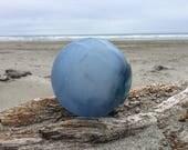 Japanese Glass Fishing Float, Blue, Net Marks, Alaska Beachcombed