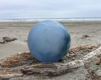 Japanese Glass Fishing Float, Blue, Net Marks, Alaska Beachcombed
