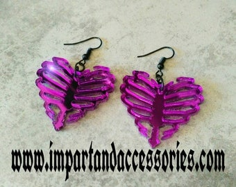 SPELLBOUND HEART- Beautiful Purple Mirror Laser Cut Acrylic Heart Shaped Rib Cage Charm Earrings