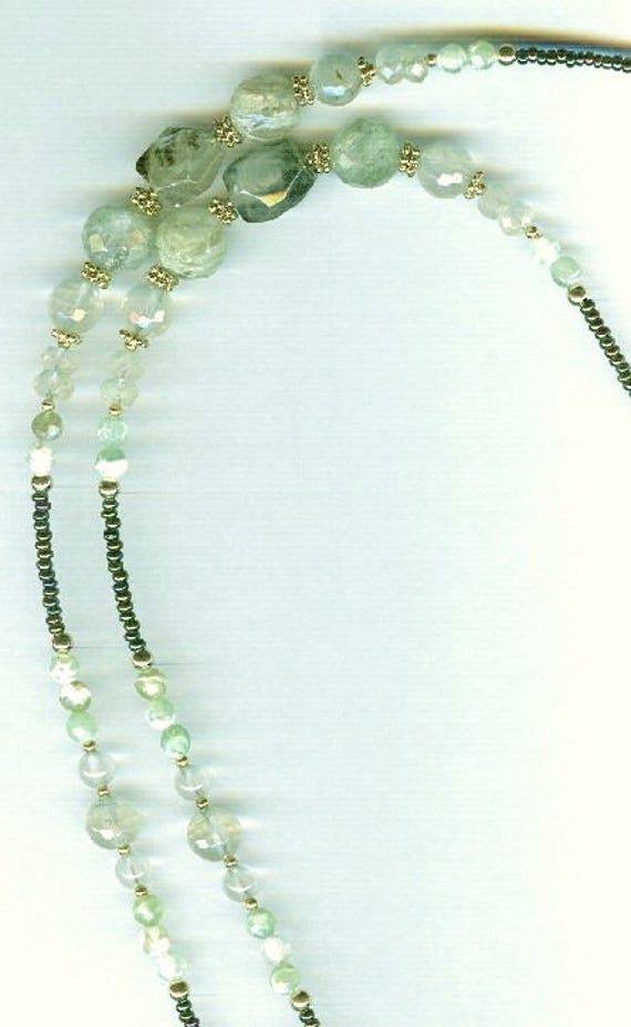 STUNNING Green Gossular Garnet & Prehnite  Genuine Gemstone Beaded  ID Badge Lanyard or Eyeglass Chain 2