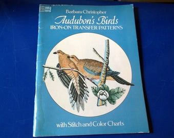 Vintage 1979 Barbara Christopher AUDOBON's BIRDS Iron-on Transfer Patterns book with stitch and color Charts Unused