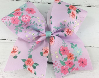 1 Cheer Bow, Girls Large Cheer Bow, Floral Print Cheer Bow, Vintage Floral Bow, Lavender Floral