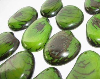 Dark Lime Green Tagua Nut Bead, Top Slice, Organic Beads, Natural Beads, Vegetable Ivory Beads, EcoBeads