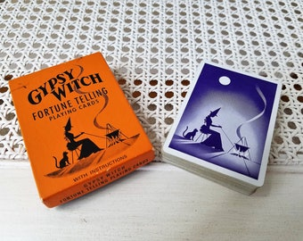 Vintage Gypsy Witch Fortune Telling Playing Cards Deck, Original Box of 52 Cards Plus 2 Jokers Without Instructions, U. S. Playing Card Co.