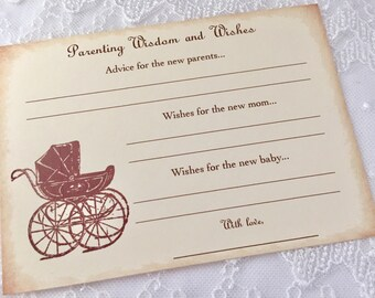Baby Advice Cards Parenting Advice Baby Shower Carriage Set of 10
