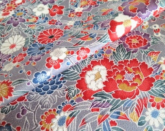 Japanese pure silk from Kyoto Gray Floral pattern