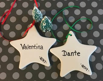 Personalized Star Christmas Ornament .|. Custom Name Ornament .|.  Hand Lettered .|.  Ceramic with Ribbon .|. Gift for Child