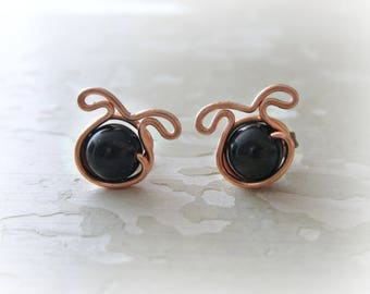 Dog Stud Earrings, Copper Studs, Pet Lover Gift, Dog Earrings, Black Dog Studs, Dog Jewelry, Small Dog Earrings, Dog Lover, Black Onyx Studs