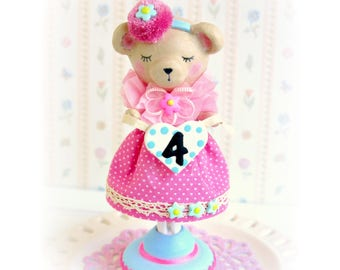 Teddy Bear  Birthday, Bear Cake Topper, Woodland Cake Topper, Baby Bear Birthday Cake Topper,  Birthday Girl, Baby Shower Topper, Pink Dress