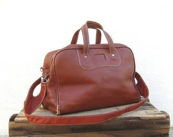 20% Off Sale SALE 70s Duffle Satchel Bowling Bag Rugged Wine Travel Bag