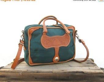 20% Off Sale SALE Vintage Satchel Weaver Wear Forest Green Southwestern Tooled Leather Tote Bag