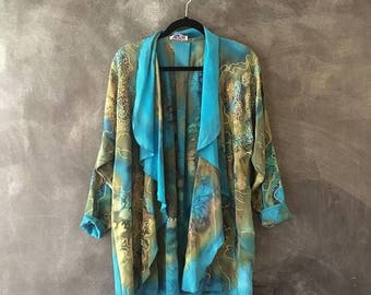 20% Off Sale 80s Marbleized Silk Duster Cardigan Wearable Art Gold Pattern Scarf Jacket Turquoise Oversized Cocoon Jacket OSFM Louise Blumbe
