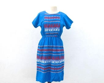 20% Off Sale Embroidered Mexican Cotton Turquoise Maxi Dress Ladies Size Small/Medium