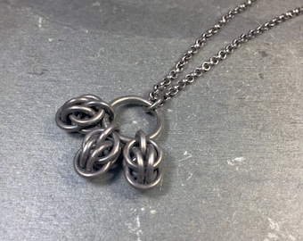 Inti Necklace Oxidized Sterling Silver Chainmaille