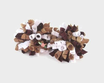 Khaki Burgundy School Uniform Korker Bows/Baby Girl Pail Tail/Pigtail Hair Bows/Baby Bows/Girls Hair Bows/Baby Hair Bows/Toddler Hair Bows
