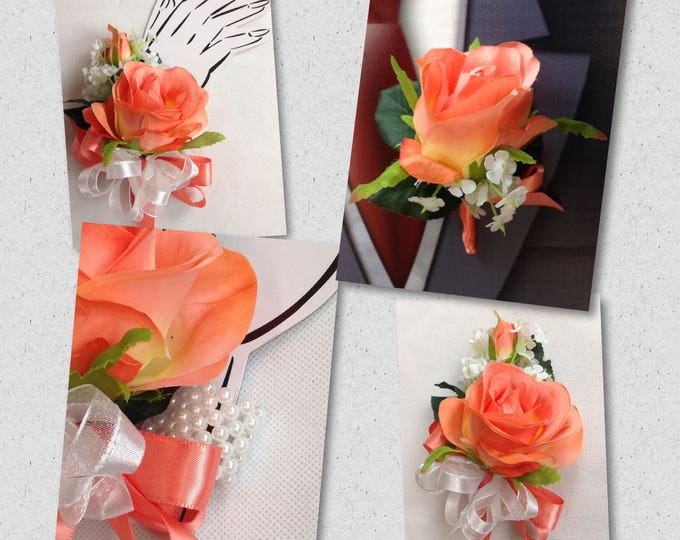 New Artificial Coral Reef Rose Wrist Corsage, Coral Rose Pin On Mother's Corsage, Coral Reef Bout