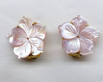 Pink Mother of Pearl Flower Button Earring - CE4777E