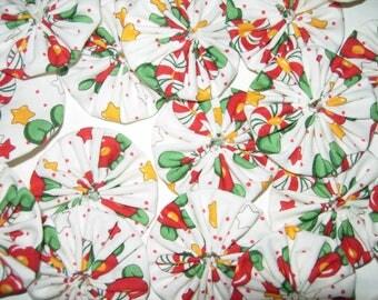 "Christmas Fabric YoYos, Set Of 20,  2"" Size, Crafting, Appliques, Embellishments"