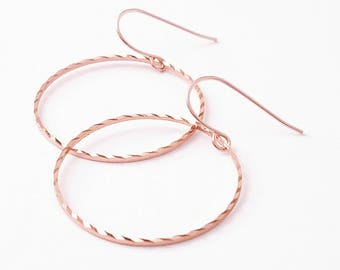 Rose gold hoops Rose gold hoop earrings Rose gold earrings Rose gold circle earrings Rose gold dangle earrings wedding Minimalist earrings