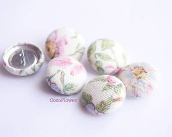 6 small shabby chic flower motif pink buttons 19mm - BOUTP10