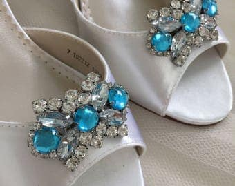 Wedding Shoes - Blue Wedding Shoe Clips- Something Blue - Blue Wedding Shoes - Shoe Clips- Removable Wedding Shoe Clips - Blue Crystals Shoe