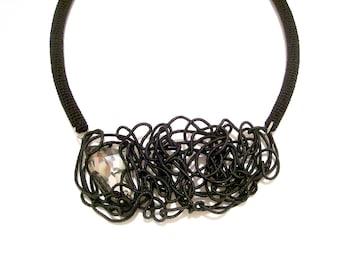 Dramatic Black Necklace Free Motion Tubular Sculpture Futuristic Party Necklace