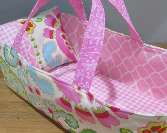 Doll Carrier, Modern Print with Pink Lining, 14 Inches Long, Doll Basket